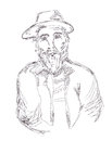 Old man sketch hand drawn illustration Royalty Free Stock Images