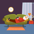 Old man sleeping on sofa with book. Elderly  relaxing home or grandfather resting vector illustration Royalty Free Stock Photo