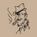 Old man smoking cigar Royalty Free Stock Photo