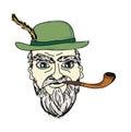 Old man smoking pipe Royalty Free Stock Photo