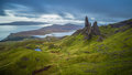 Old man of Storr, Scottish highlands in a cloudy morning, Scotland, UK Royalty Free Stock Photo