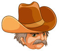 An old man wearing a cowboy hat illustration of on white background Stock Photo