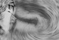 Starý muž studený vietor fúkania