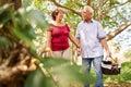 Old Man Woman Senior Couple Walking With Picnic Basket Royalty Free Stock Photo