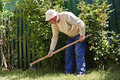 Old man working in garden Royalty Free Stock Photography