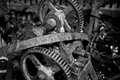 Old manchinery machinery in black and white Stock Photo