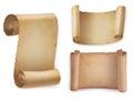 Old manuscript or ancient paper scrolls icons set