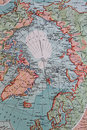 Old 1945 Map of Arctic Regions, including Greenland Royalty Free Stock Photo