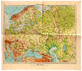 Old map of east europe in original print made Royalty Free Stock Image
