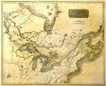 Old map of Eastern North America. Royalty Free Stock Photo
