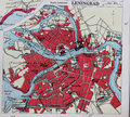 Old 1945 Map of the Environs of Leningrad, Russia. Royalty Free Stock Photo
