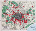 Old 1945 Map of the Environs of Paris, France. Royalty Free Stock Photo
