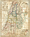Old Map of the Holy Land. Royalty Free Stock Photo