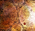Old map on rusty metal can be used as a background Royalty Free Stock Photography