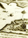 Old map - sea sailing chart Royalty Free Stock Photos