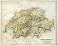 Old map of Switzerland. Stock Image