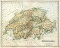 Old map of Switzerland. Royalty Free Stock Photo