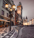 Old market square in prague in the evening city hall on town early Royalty Free Stock Photos