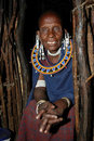 Old Masai in his wooden house - portrait