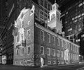 Old massachusetts state house panoramic shot of the boston at night Royalty Free Stock Photo