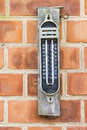 Old maximum minimum thermometer style analog mercury on a brick wall Royalty Free Stock Photos