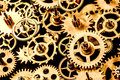 Old mechanism background close up on a black Royalty Free Stock Photography
