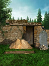 Old medieval cemetery with a new grave tombstone and bones Royalty Free Stock Photography