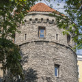 Old medieval fortress tower in tallin town of Royalty Free Stock Photography