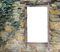 Old medieval looking wooden window framework in a brick wall with ivy, isolated on white to create empty space to put what ever Royalty Free Stock Photo