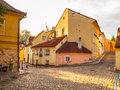Old medieval narrow cobbled street and small ancient houses of Novy Svet, Hradcany district, Prague, Czech Republic Royalty Free Stock Photo