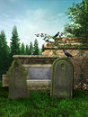 Old medieval tombstones in the forest Royalty Free Stock Photo