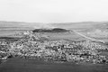 Old medieval town in slovakia black and white bird view Stock Images