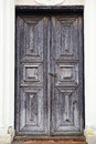 Old medieval wooden door of the building in kernave lithuania Stock Photo