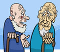 Old men cartoon illustration of two talking Stock Photo