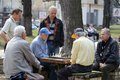 Old men playing chess competition at the kiev street Stock Photo