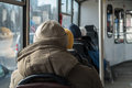 Old men traveling on a bus. Lonely, lonelyness conception. Royalty Free Stock Photo