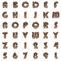 Old metal alphabet on white background set Royalty Free Stock Images