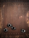 Old metal background with bullet holes rusty Royalty Free Stock Photography