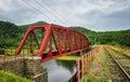 Old metal bridge on Circum-Baikal Railway Royalty Free Stock Photo