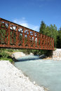 Old metal bridge on sava river in slovenia Stock Photos