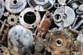 Old metal car parts welded together