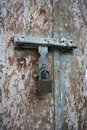Old metal door with lock Stock Image