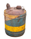 Old metal gas can isolated worn and rusted round gasoline on white Royalty Free Stock Photography