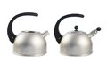 Old metal stovetop kettle isolated with a black handle over the white background set of two images with and without the whistle Royalty Free Stock Photos