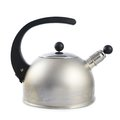 Old metal stovetop kettle isolated with a black handle and a whistle cap over the white background Royalty Free Stock Photo