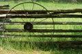 Old metal wagon wheel Royalty Free Stock Photo