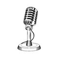 Old microphone made in engraving style Royalty Free Stock Photo