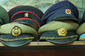 Old military caps from bulgarian and russian army Royalty Free Stock Image