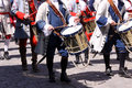 Old military drummers some historic marching at a parade Royalty Free Stock Photo