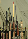 Old military rifles stack of from world war Stock Images